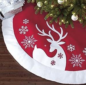 Christmas Tree Skirt In Red Nordic Reindeer Design Loretta Lee 66quot