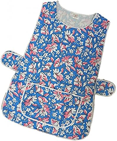 HDUK Top Quality Ladies Floral Home / Work Tabard (Tabbard) Apron with Single Large Front Pocket, White Piping and Side Fastening Button Tabs - Available in NAVY / PINK / ROYAL / TURQUOISE - UK Sizes 8/10 up to 28/30 - FREE UK DELIVERY (UK 28/30 (XXXOS), Royal Blue Floral)