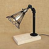 Vintage Retro schwarz Tischleuchte Schmiedeeisen Tischlampe Holz Basis Steampunk für Wohnzimmer Schlafzimmer Nacht Antike E27