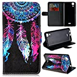 GrandEver Coque pour Wiko Rainbow Lite 4G PU Cuir Etui Pochette Flip Wallet Housse Plume Coloré Attrape Rêve Motif Style Design Mode Bookstyle Case Cas Portable Holster Back Cover Souple Fonction Stand Magnetique Dustproof Protective Shell Fente de Carte Anti-Rayures AntiPoussiere