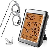 iKALULA Thermomètre de Cuisine, Digital Thermomètre de Cuisson Thermomètre à Viande avec 2 sondes en Acier Inoxydable et Écra