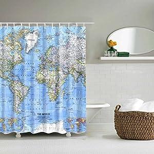 WTL Cortinas de baño Cortinas de ducha Cortinas cortadas Material de poliéster Impermeable y moho Cortinas gruesas…