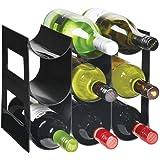 mDesign - Flessenrek - wijnrek - waterflessen/wijnflessen - met 3 etages en 9 houders - voor aanrechten, voorraadkasten en ko