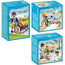 PLAYMOBIL® Set Hospita Infantil: 6661 Doctor con niño + 6662 Dentista con paciente + 6663 Niño en silla de ruedas