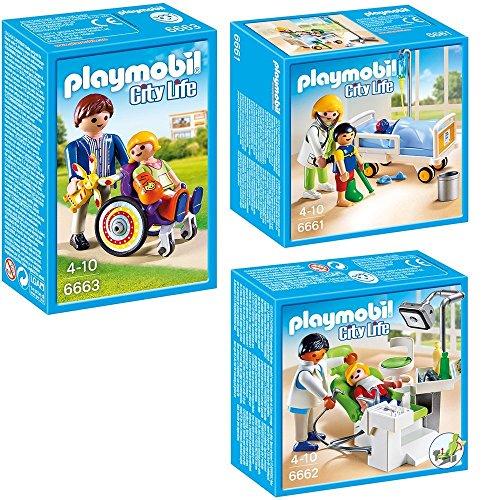 PLAYMOBIL® City Life Die freundliche Kinderklinik 3-tlg. Set 6661 6662 6663 Ärztin am Kinderkrankenbett + Zahnarzt + Kind im Rollstuhl (Arzt, Zimmer)