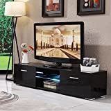 UEnjoy Black TV Unit Gloss TV Stand 160CM LED TV Cabinet with 2 Drawers and 2 Shelves FREE LED Two Drawers Storage