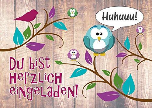 12-er Kartenset (10 + 2 Gratis-Karten) mit niedlichem, lustigem Uhu- bzw. Eulen-Motiv, Kindergeburtstag-Einladungskarten für die Geburtstags-Party