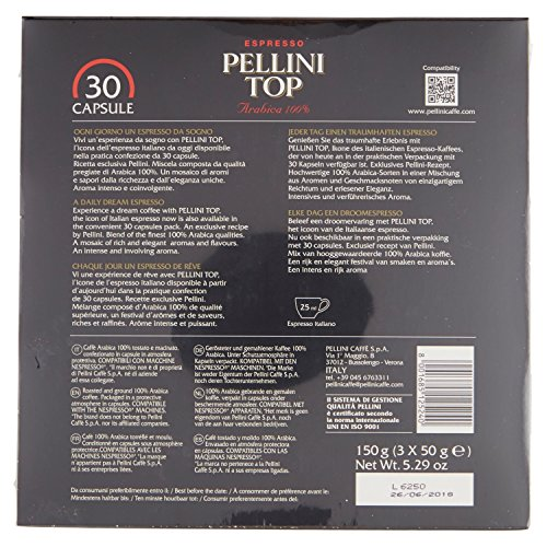 Pellini Top Coffee Nespresso Compatible Capsules (Pack of 3, Total 30)