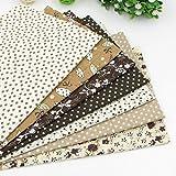49cm * 49cm 7Tressen Kaffee 100% Baumwolle Stoff für Heimwerker Schnittmuster Patchwork Quilting Tissue Kinder Betten Stoff Tilda Puppe Reinigungstuch Textilien