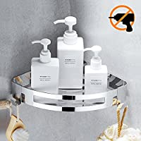 Kazeila Shower Caddy Storage Basket Bathroom Corner Shelf with Hooks-Wall Mounted Rack for Kitchen - No Drilling with Self-adhesive Glue - 304 Stainless Steel with Polished Finish (Triangle)