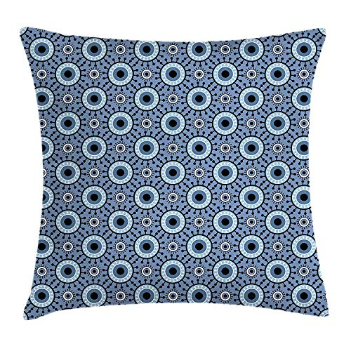 K0k2t0 Blue and White Throw Pillow Cushion Cover, Circles with Floral Elements and Dots Abstract Eye Figures Retro, Decorative Square Accent Pillow Case, 18 X 18 inches, Slate Blue Black White - Knit Black Slate