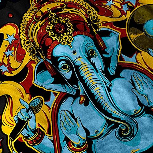 Disko Fieber Elefant Ganesha Damen Schwarz S-2XL Muskelshirt | Wellcoda Schwarz