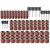 Wishfive - Juego de tambores de lijado universales de grano80, 102unidades, herramientas de rotación de 12,7, 9,5, 6,3mm, mandriles de lijado para Dremel
