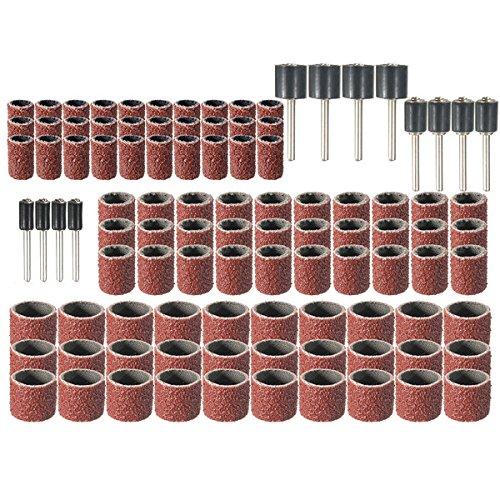 wishfive 102pcs Universal Schleifhülsen Körnung 80Drum Kit Rotary Tools mit 1/23/81/10,2cm Schleifen spannfuttern für Dremel Universal Groove Kit