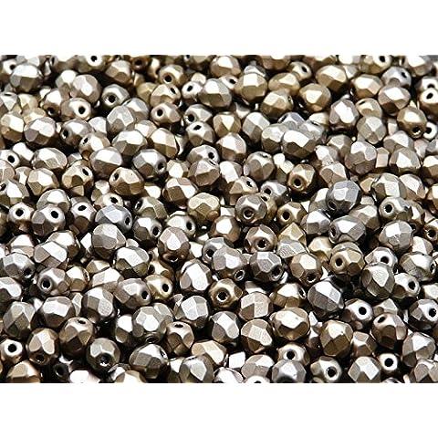100pc Ceco Perle di sfaccettato vetro, Fire-Polished Beads rotondo 4mm Bronze Grey Rainbow Matte