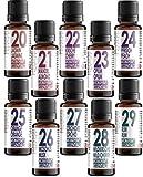 Set di 10(dieci) flaconi di oli profumati in confezione regalo. Aromatherapy Essentials 20-29. Gelsomino, mandorla, ciliegia, oppio, pesca, arancia, muschio, orchidea, amarena, rum.
