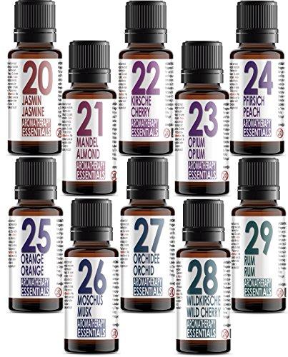Set von 10 (zehn) Duftöle in Geschenkbox. Aromatherapy Essentials 20-29. Jasmin, Mandel, Kirsche, Opium, Pfrisich, Orange, Moschus, Orchidee, Wildkirsche, Rum (Opium Set)