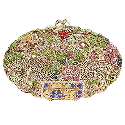 Bonjanvye Man Made Agate Stone Floral Purses for Women Evening Bags