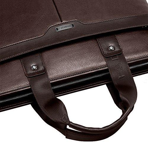 Padieoe Herren Ledertasche Handtasche Schultertasche Aktentasche Laptoptasche Dokumententasche Businesstasche Schwarz Braun