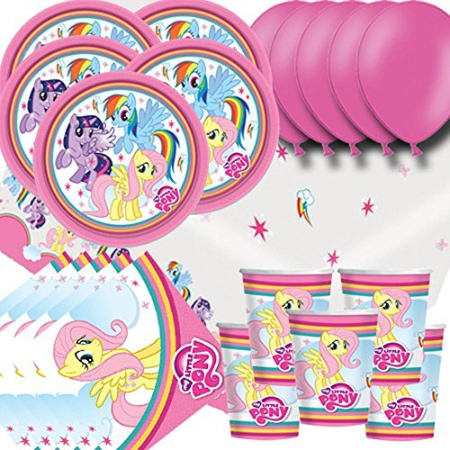 My Little Pony Party Pack For 16 - Plates, Cups, Napkins, Balloons and Tablecovers by Signature Balloons