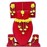 YouBella Jewellery Set for Women Floret Gota Patti Necklace, Earrings, Bracelet & Maang Tika for Women & Girls (Mehandi/Haldi