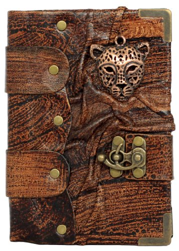 Leopard Gesicht Maske Anhänger Auf Einem Braunen Leder Gebundenem Notizbuch Tagebuch Notiz Tagebücher Blöcke Hefte Blankobücher Taschenbuch Frauen Männer Mädchen Jungen Kinder Klein