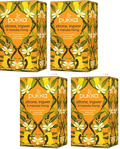 Zitrone, Ingwer & Manukahonig PUKKA Tee BIO 4 Packungen Honig-zitrone-ingwer