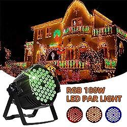LED Par Licht, LED Par Scheinwerfer, Discolicht, DJ-Licht RGB Led Party Strahler Bühnenbeleuchtung, Atmosphäre Licht, Party Strahler für Club Party Karneval KTV Disco (180W)