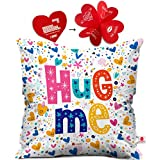 Indigifts Valentine Day Gift Hug Me Quote Randomize Love Symbols White Cushion Cover 16x16 inch - Gift for Boyfriend, Girlfriend, Birthday, Wife, Husband, Anniversary