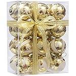 Sea Team, set di palline di Natale decorative da 60mm, con un motivo delicato e glitter, infrangibili, da appendere,24pezzi