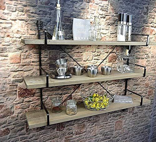 Livitat® Küchenregal Wandregal Badregal Metall Holz Industrie Design Vintage Loft LV5031 (81 x 64 cm)