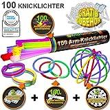"""100 Knicklichter 7-FARBMIX, Testnote: 1,4 """"SEHR GUT"""", Komplett-Set inkl. 100x TopFlex-, 2x Dreifach- und 2x Ball-Verbindern von Knicklichter.com"""