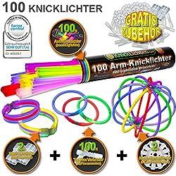 KnickLichter Glowinx - 100 barras luminosas, mexcla de 7 colores, set completo incl. 100 x conectores TopFlex, 2 x conectores triples y 2 x conectores circulares