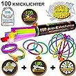 100 Knicklichter 7-FARBMIX, Testnote: 1,4SEHR GUT, Komplett-Set inkl. 100x TopFlex-, 2x Dreifach- und 2x Ball-Verbindern