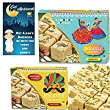 #7: BOGATCHI Eid Mubarak Gift Pack, Premium Eid Special Gift, Sweets for Eid, Traditional Soan Papdi Combo, 450g + 250g + FREE Eid Mubarak Greeting Card