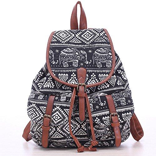 madchen-damen-canvas-rucksack-schultasche-tagliche-taschen-wandern-rucksacke-elephant-black
