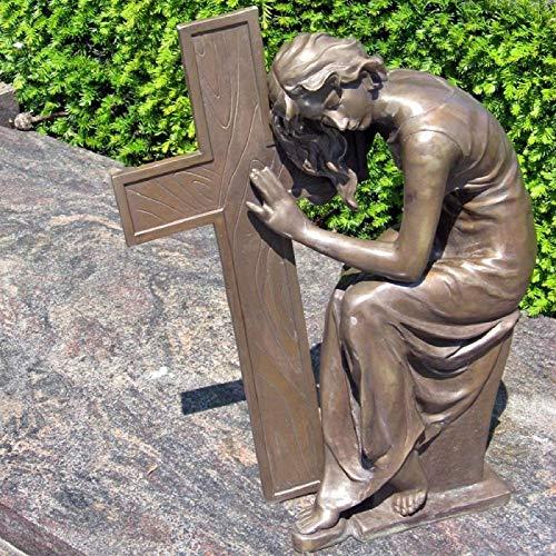 H. Packmor GmbH Bronzeskulptur sitzende Frau mit einem Kreuz Grabdekoration Gartenfigur Braun
