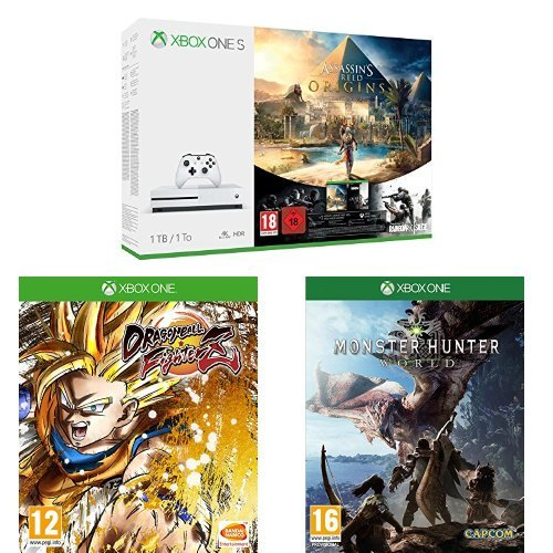 Pack Xbox One S 1 To Assassin's Creed Origins & Rainbow Six : Siege + Dragon Ball Fighter Z + Monster Hunter World