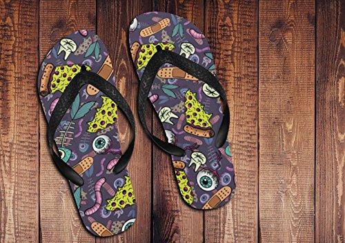 Pizza & Eyeballs Unisex Flip Flops Dark Pizza Shoes Summer Gifts Pizza Unique Gifts Women's Men's Shoes Black
