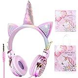 Cuffie per bambini Unicorn, Sunvito Orecchio sopra con orecchie di gatto incandescente a LED, 85dB Volume, Kids Unicorn Cuffi