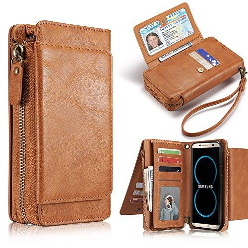 Preisvergleich Produktbild Galaxy S8 Plus Case, Gasin Echtes Leder Brieftasche Etui mit Folio FlIp und abnehmbare Rückenlehne, leicht und schlank [Card Slot], Braun, nur für Galaxy S8