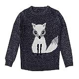 Mädchen Weihnachts Pullover Eisbär Oder Pinguin 3D Bommel Kinder Festive Pullover Top - Fox - Marineblau, 98 - 104