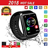 Smartwatch,Bluetooth Smart Watch Phone Touchscreen,Smartwatch Ios mit Whatsapp Bluetooth Uhr mit Kamera Wasserdicht Smart Uhr Kompatible IOS Andriod Samsung iPhone X 8 7 6 6S 5 Plus für Herren Damen (Schwarz)