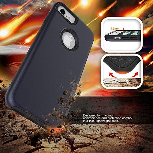 iPhone 7 Custodia Cover, FugouSell Heavy Duty Antiurto Case Doppio Strato TPU e PC Non scivolare Ibrido Brushed Texture Drop Resistente Protettore Bumper Blu scuro Blu scuro