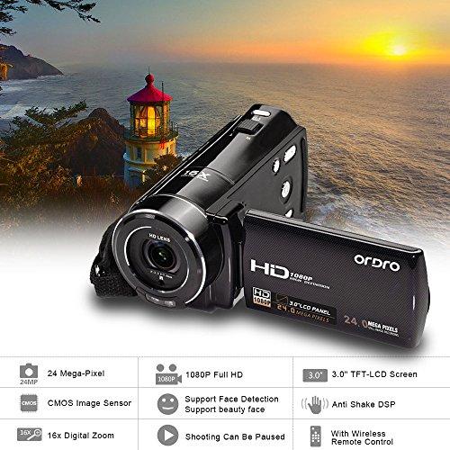 ORDRO HDV-V7 1080P HD Digitale Videocamera Camcorder max. 24 Mega Pixel 16 × Zoom Digitale con 3,0