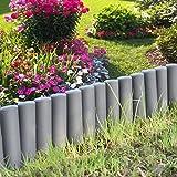 [casa.pro] Empalizada para jardín - Set de 10 unidades - separadores para césped - gris oscuro Longitud 270cm