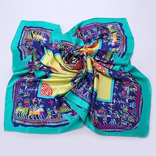 TUNBG Damen Schal aus Seide mit Blumenmuster 2