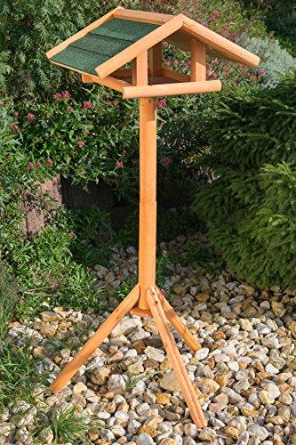 Edles Vogelhaus Zedernholz 3024 mit Ständer Massivholz 120 cm hoch und mit Schindeldach gedeckt Futterkrippe Futterspender Futterhaus - 3