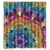 BBFhome Hem Gewichte Schöne Mandala Muster Personalisierte Benutzerdefinierte wasserdicht Polyester Duschvorhang 180 x 180 cm