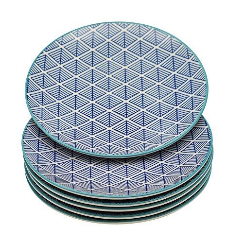 Petites assiettes à dessert - motif géométrique - 190 mm - bleu - lot de 6
